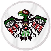 Colorful Eagle Symbol Round Beach Towel