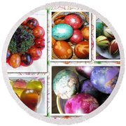 Round Beach Towel featuring the photograph Colorful Easter Eggs Collage 07 by Ausra Huntington nee Paulauskaite