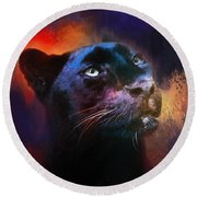 Colorful Expressions Black Leopard Round Beach Towel