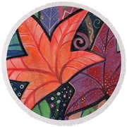 Colorful Fall Round Beach Towel