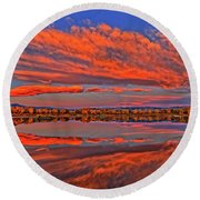 Round Beach Towel featuring the photograph Colorful Fall Morning by Scott Mahon