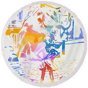 Round Beach Towel featuring the painting Colorful Fearless Girl by Dan Sproul
