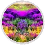 Colorful Field Of A Lavender Round Beach Towel