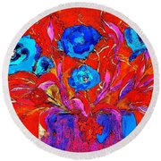 Round Beach Towel featuring the digital art Colorful Floral Pop by Lisa Kaiser