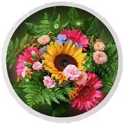 Colorful Flower Arrangement Round Beach Towel