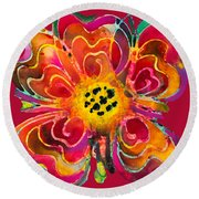 Colorful Flower Art - Summer Love By Sharon Cummings Round Beach Towel by Sharon Cummings