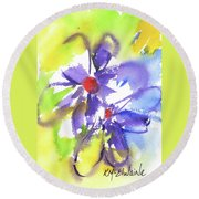 Colorful Flower Round Beach Towel by Kathleen McElwaine