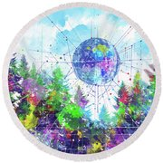 Colorful Forest 3 Round Beach Towel by Bekim Art