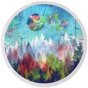Colorful Forest 4 Round Beach Towel by Bekim Art