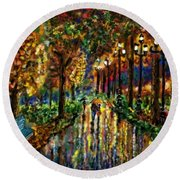 Round Beach Towel featuring the digital art Colorful Forest by Darren Cannell