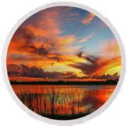 Colorful Fort Pierce Sunset Round Beach Towel