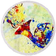 Colorful French Horn Round Beach Towel