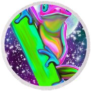 Colorful Frog In The Moonlight Round Beach Towel