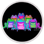 Round Beach Towel featuring the painting Colorful Froggies by Nick Gustafson