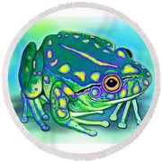 Round Beach Towel featuring the painting Colorful Froggy by Nick Gustafson