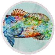 Colorful Gag Grouper Art Round Beach Towel
