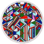 Colorful Geometric Design Round Beach Towel