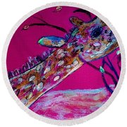 Colorful Giraffe Round Beach Towel