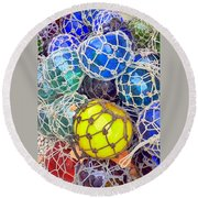 Colorful Glass Balls Round Beach Towel