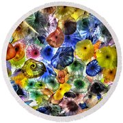 Colorful Glass Ceiling In Bellagio Lobby Round Beach Towel by Walt Foegelle
