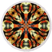 Colorful Gourds Abstract Round Beach Towel
