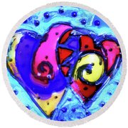 Round Beach Towel featuring the painting Colorful Hearts Equals Crazy Hearts by Genevieve Esson