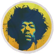 Colorful Hendrix Pop Art Round Beach Towel