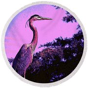 Colorful Heron Round Beach Towel