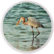 Colorful Heron Round Beach Towel