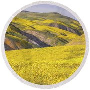Round Beach Towel featuring the photograph Colorful Hill And Golden Field by Marc Crumpler