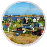Colorful Homes In Trinity, Newfoundland - Painterly Round Beach Towel by Les Palenik