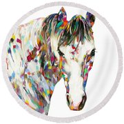 Colorful Horse Round Beach Towel