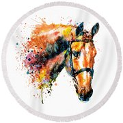 Round Beach Towel featuring the mixed media Colorful Horse Head by Marian Voicu