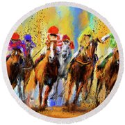 Colorful Horse Racing Impressionist Paintings Round Beach Towel