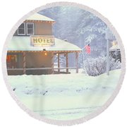 Colorful Hotel In Winter Snowstorm Round Beach Towel