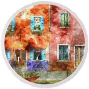 Colorful Houses In Burano Island, Venice Round Beach Towel