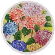 Colorful Hydrangeas Round Beach Towel by Jimmie Bartlett