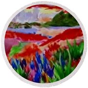 Colorful Round Beach Towel by Jamie Frier