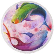 Colorful Koi Round Beach Towel by Darice Machel McGuire