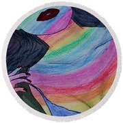 Colorful Lady Round Beach Towel by Lucy Frost
