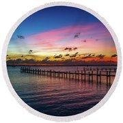 Colorful Lagoon Sunrise Round Beach Towel by Tom Claud