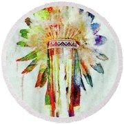Colorful Lakota Sioux Headdress Round Beach Towel