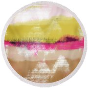 Colorful Landscape 28- Art By Linda Woods Round Beach Towel