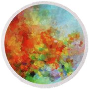 Round Beach Towel featuring the painting Colorful Landscape Art In Abstract Style by Ayse Deniz