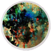 Round Beach Towel featuring the painting Colorful Landscape / Cityscape Abstract Painting by Ayse Deniz