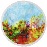 Round Beach Towel featuring the painting Colorful Landscape Painting In Abstract Style by Ayse Deniz