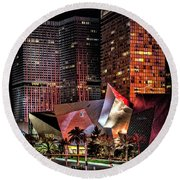 Colorful Las Vegas Evening Street Scene Round Beach Towel