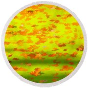 Colorful Leaves On Canal Round Beach Towel