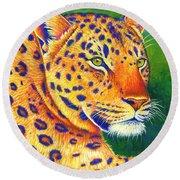 Colorful Leopard Portrait Round Beach Towel