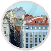 Round Beach Towel featuring the photograph Colorful Lisbon by Marion McCristall